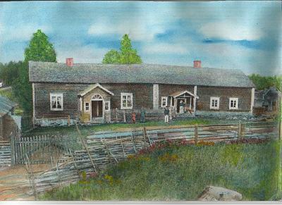 Kestikievari Hintikanhovi Hirvensalmella. Otto Liikanen s. 8.10.1837 oli kestikievarin pitäjänä tässä valtiolta vuokraamassaan kiinteistössä noin 1865 lähtien. 36-vuotiaana hän meni naimisiin 22-vuotiaan Emmin  (Conkordia Emilia Charlotta Bergström) kanssa ja tästä tuli kievarin emäntä. Taloa ei enää ole. Kuva väritetystä valokuvataulusta Pirkko Liikanen